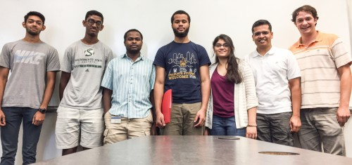The newly elected officers of the newly re-branded Vertical Flight Society (VFS) at Georgia Tech are, from left, Kaushik Reddy, (undergraduate liaison), Vikram Balaji, (secretary), Nicholson Koukpaizan (vice president), Chams Mballo (membership chair), Aarohi Shah (president), Mohit Gupta (treasurer), and Etienne Demers Bouchard (social media chair)