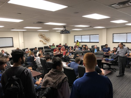 February 4, 2019:  Erasmo Piñero, an engineer at Bell Flight, presented on helicopter technology to about 50 students and faculty at the University of Texas at Arlington.