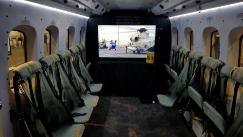 Cabin of the Sikorsky S-92A (registration number N850AR) at Heli-Expo 2019. (VFS photo taken on March 6, 2019. CC-BY-SA 4.0)