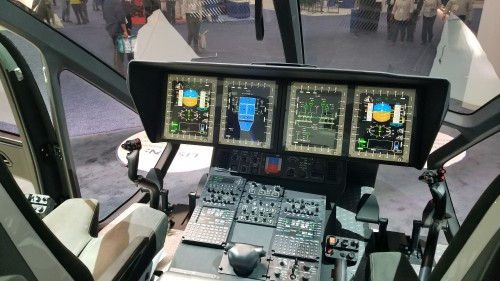 Airbus H160 cockpit mockup at Heli-Expo 2019. (VFS photo taken on March 7, 2019. CC-BY-SA 4.0)