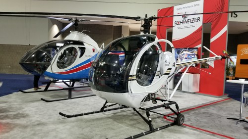 Schweizer S-300CBI (right) and S-333 (left) on display at Heli-Expo 2019. (VFS photo taken on March 7, 2019. CC-BY-SA 4.0)