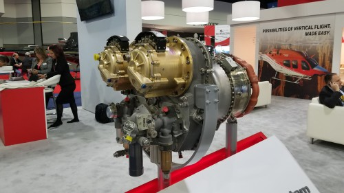 Honeywell Turbogenerator System based on the HTS900 engine. The turbogenerator was on display at Heli-Expo 2019. Photo taken March 7, 2019. (VFS photo CC-BY-SA 4.0)