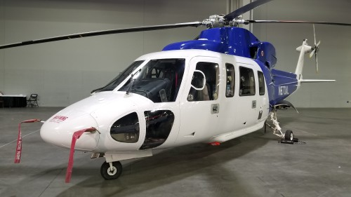 Sikorsky S-76C (N870AL) for sale at Heli-Expo 2019 on March 7, 2019. (VFS photo CC-BY-SA 4.0)  https://registry.faa.gov/aircraftinquiry/NNum_Results.aspx?NNumbertxt=870AL