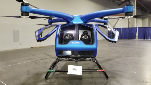 The SureFly electric VTOL on March 7, 2019. The first prototype was on display at Heli-Expo 2019. (VFS photo CC-BY-SA 4.0)