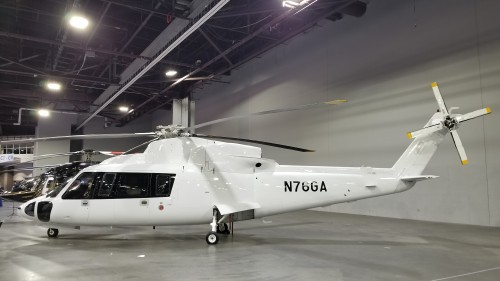Sikorsky S-76C (N76GA) for sale at Heli-Expo 2019 on March 7, 2019. (VFS photo CC-BY-SA 4.0)  https://registry.faa.gov/aircraftinquiry/NNum_Results.aspx?NNumbertxt=76GA