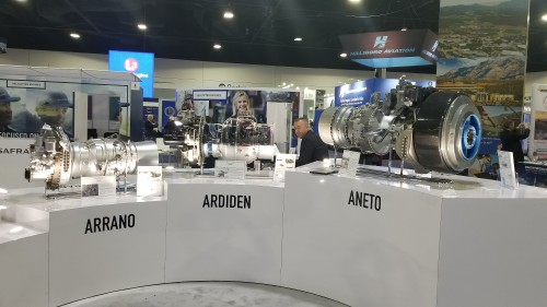 Safran engine product line on display — Arrano, Ardiden and Aneto — at Heli-Expo 2019. (VFS photo taken on March 7, 2019. CC-BY-SA 4.0)