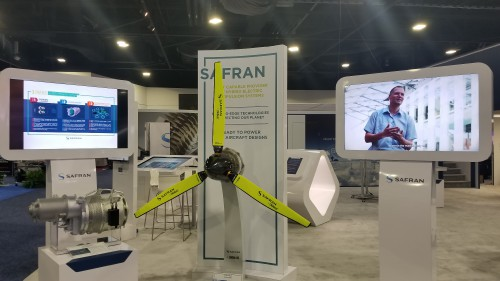 Safran turbogenerator and electric motor on display at Heli-Expo 2019. (VFS photo taken on March 7, 2019. CC-BY-SA 4.0)