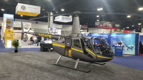 Robinson R66 Turbine helicopter with the optional auxiliary fuel tank on display at Heli-Expo 2019. (VFS photo taken on March 7, 2019. CC-BY-SA 4.0)