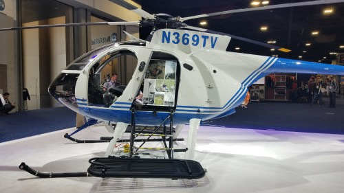 The Tennessee Valley Authority (TVA) received its third MD 530F at Heli-Expo 2019. It features the first glass cockpit. (VFS photo taken on March 7, 2019. CC-BY-SA 4.0)