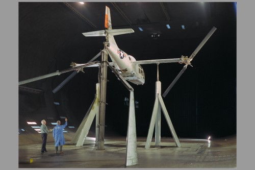 The aircraft was undergoing rotor dynamic stability tests.  Image courtesy of NASA (NASA image reference: ARC-1966-A-37006-6)