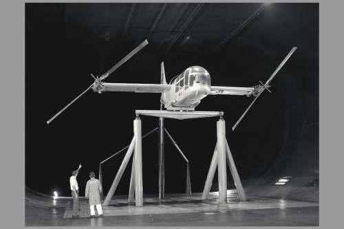 The aircraft was undergoing rotor dynamic stability tests.  Image courtesy of NASA (NASA image reference: ARC-1966-A-37017)