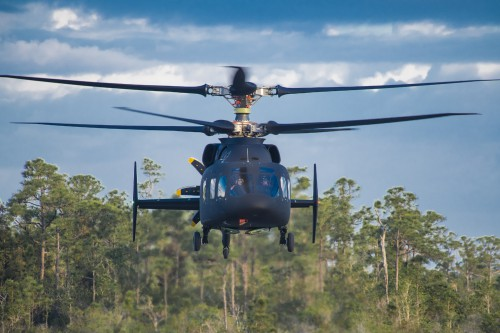 The Sikorsky-Boeing SB>1 DEFIANT™ helicopter achieved first flight March 21, 2019 at the Sikorsky West Palm Beach, Florida, test site. Photo courtesy of Sikorsky and Boeing.