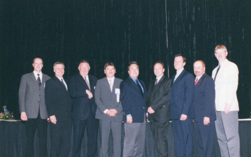 Leonardo International Fellowship Award presented to The Black Hawk Individual Blade Control Team at annual Forum 59 in 2003. Gilles Ouimet congratulated the representatives of the team - Tom Norman, NASA Ames Research Center; Gary deSimone, Dr. Andy Bernhard and Dr. Michael Torok of Sikorsky Aircraft Corp. ; Patrick Shinoda, US Army Aeroflightdynamics Directorate and Dr. Axel Heber, ZF Luftfahrttechnik ZmbH.  Forum 59, May 6-8, 2003, Phoenix, Arizona USA