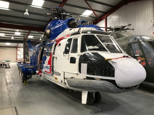 AS332 L Super Puma Mk 1 (G-TIGE) in the colors of Bristow.  Photo taken at The Helicopter Museum, Weston-Super-Mare, UK.  Image donated to AHS International (image provided under the terms Creative Commons license Attribution-ShareAlike 4.0 International (CC BY-SA 4.0))