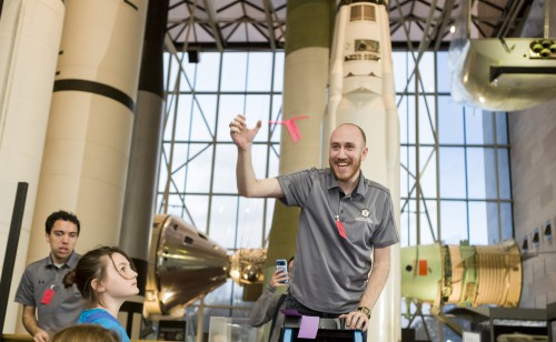 On March 15, 2019, the University of Maryland student chapter supported the District of Columbia Public Schools Family Night at the Smithsonian National Air & Space Museum (NASM) in the nation's capitol. Since 2018, NASM opens its doors for a special evening of STEM enrichment to local K-8th grade students and their chaperones, which totalled to almost 1,200 attendees this year.  Photo courtesy of Smithsonian National Air and Space Museum.