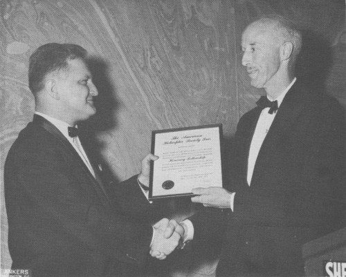 AHS Honorary Fellowship awarded to Bartram Kelly at Annual Forum 17 Awards, 1961.  Forum 17, May 3-5, May, 1961, Washington, D.C., U.S.A.