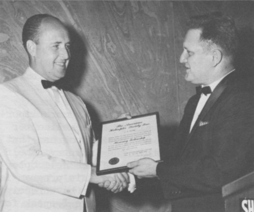 AHS Honorary Fellowship award presented to C.W. Moore by Ralph Alex at Annual Forum 17 Awards, 1961.  Forum 17, May 3-5, 1961, Washington, D.C., U.S.A.