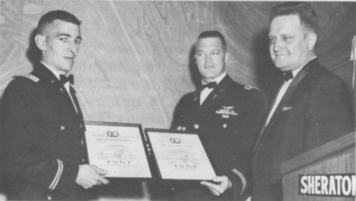 Capt. William J. Kossler Award 1961 at Annual Forum 17 presented to US Army- 56th and 57th Medical Platoons.  Accepting the award from Ralph Alex are Captain Temperilli and Captain Wall.  Forum 17, May 3-5, 1961, Washington, D.C., U.S.A.