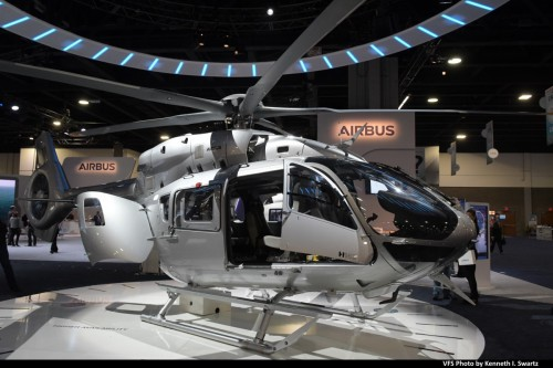 Airbus BK117D 2 (MSN 20078) @ Heli-Expo 2019, Atlanta, Georgia, March 8, 2019 (2). Airbus has developed a 5-bladed rotor system for the H145 for improved performance. (VFS photo by Kenneth I. Swartz. CC-BY-SA 4.0)