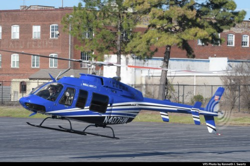 Bell 407GPI (N407HW) @ Heli-Expo 2019, Atlanta, Georgia, March 8, 2019. This Bell 407GXP was used for flight demonstrations of the 407GXi at Heli-Expo, with uprated engines and an advanced Garmin flight deck. Bell has proposed the GXi for the Navy TH-XX trainer program. (VFS photo by Kenneth I. Swartz. CC-BY-SA 4.0)