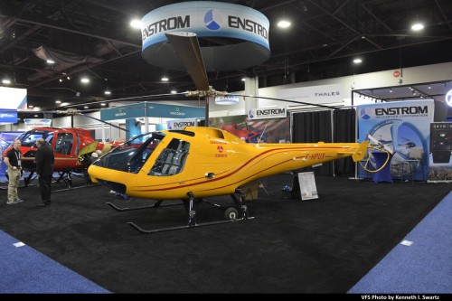 Enstrom 280FX F HPUX @ Heli-Expo 2019, Atlanta, Georgia, March 8, 2019. Enstrom showed off its upgraded 280FX, but the company's new TH-180 trainer in development was notably absent. (VFS photo by Kenneth I. Swartz. CC-BY-SA 4.0)