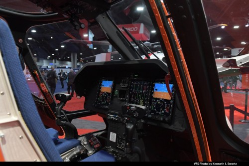 Leonardo AW119MKII @ Heli-Expo 2019, Atlanta, Georgia, March 8, 2019. Leonardo and Bell are both hoping to be the first company to obtain single-engine IFR certification from the FAA in two decades, with an AW119Kx currently in an IFR flight test program. (VFS photo by Kenneth I. Swartz. CC-BY-SA 4.0)