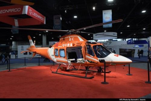 Leonardo AW119MKII @ Heli-Expo 2019, Atlanta, Georgia, March 8, 2019. The Philadelphia-built AW119Ki has been scoring strong sales in China as an air ambulance helicopter. The AW119Kx has been proposed as the TH-119 trainer for the US Navy competition. (VFS photo by Kenneth I. Swartz. CC-BY-SA 4.0)