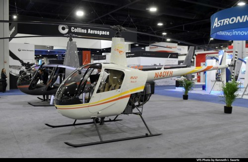Robinson R22 (N40YR, MSN 4797) Robinson 40th Anniversary @ Heli-Expo 2019, Atlanta, Georgia, March 8, 2019. Robinson celebrated the 40th anniversary of the two-seat R22, which received its FAA Type Certificate on March 13, 1979, by displaying a specially-painted new R22. (VFS photo by Kenneth I. Swartz. CC-BY-SA 4.0)