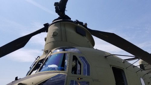 Forward rotor system of a US Army CH-47F Chinook. VFS photo taken May 17, 2019 at Spitfire Aerodrome (FAA LID: 7N7) in Oldmans Township, Salem County, New Jersey. (CC-BY-SA 4.0)