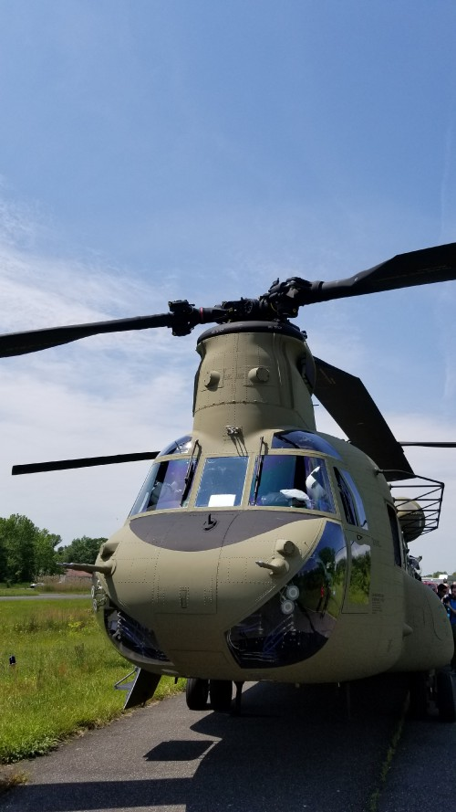 Front view of a US Army CH-47F Chinook. VFS photo taken May 17, 2019 at Spitfire Aerodrome (FAA LID: 7N7) in Oldmans Township, Salem County, New Jersey. (CC-BY-SA 4.0)