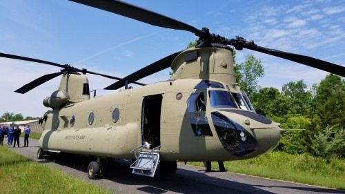 After Forum 75, The Boeing Company gave a small group of journalists a flight in and tour of a US Army CH-47F. VFS photo taken May 17, 2019 at Spitfire Aerodrome (FAA LID: 7N7) in Oldmans Township, Salem County, New Jersey. (CC-BY-SA 4.0)