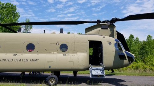 Forward fuselage of a US Army CH-47F Chinook. VFS photo taken May 17, 2019 at Spitfire Aerodrome (FAA LID: 7N7) in Oldmans Township, Salem County, New Jersey. (CC-BY-SA 4.0)