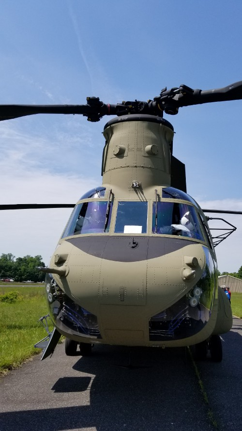 Forward fuselage of a US Army CH-47F. VFS photo taken May 17, 2019 at Spitfire Aerodrome (FAA LID: 7N7) in Oldmans Township, Salem County, New Jersey. (CC-BY-SA 4.0)