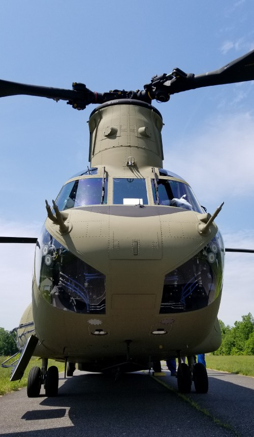US Army CH-47F Chinook. VFS photo taken May 17, 2019 at Spitfire Aerodrome (FAA LID: 7N7) in Oldmans Township, Salem County, New Jersey after a Boeing demonstration flight to journalists. (CC-BY-SA 4.0)