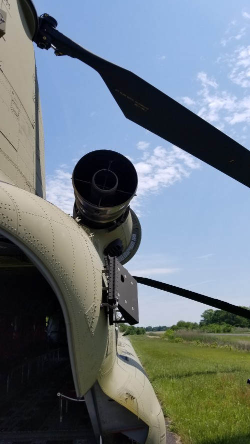 Engine exhaust of a US Army CH-47F. VFS photo taken May 17, 2019 at Spitfire Aerodrome (FAA LID: 7N7) in Oldmans Township, Salem County, New Jersey. (CC-BY-SA 4.0)