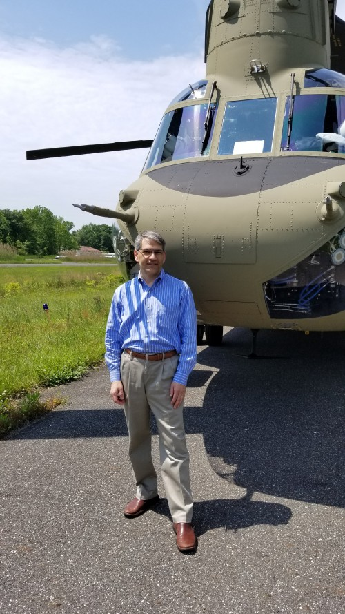 Mike Hirschberg, VFS Executive Director, after a flight in the CH-47F from the Boeing factory in Ridley Park, Pennsylvania, near Philadelphia, which landed at Spitfire Aerodrome (FAA LID: 7N7) in Oldmans Township, Salem County, New Jersey. (VFS photo May 17, 2019. CC-BY-SA 4.0)