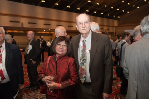 Dr. Wayne Johnson and Mrs. Johnson at the banquet reception preceding the Forum 75 Grand Awards Banquet, Wednesday evening, May 15, 2019. (VFS photo by Kenneth I. Swartz. CC-BY-SA 4.0)