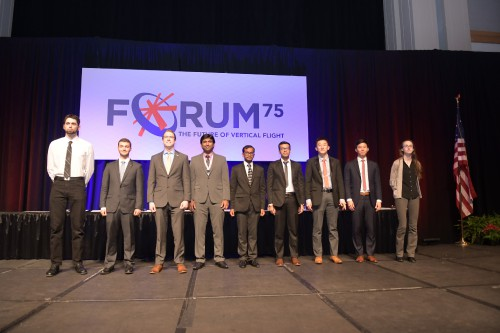 VFF Scholarship Winners, back row, during the Forum 75 Grand Awards Banquet, Wednesday evening, May 15, 2019. (VFS photo by Kenneth I. Swartz. CC-BY-SA 4.0)