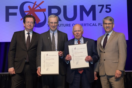 VFS Honorary Fellows William Walsh and Prof Friedmann with R. Garavaglia and M. Hirschberg during the Forum 75 Grand Awards Banquet, Wednesday evening, May 15, 2019. (VFS photo by Kenneth I. Swartz. CC-BY-SA 4.0)