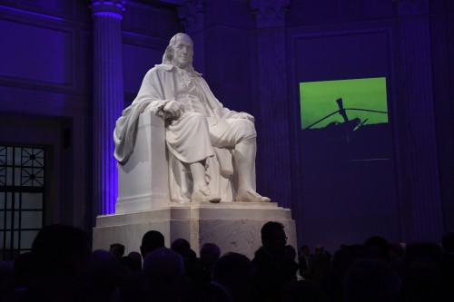 Ben Franklin, Memoirs of our Pioneers reception at the Franklin Institute, Monday evening, May 13, 2019. (VFS photo by Gary Vincent. CC-BY-SA 4.0)