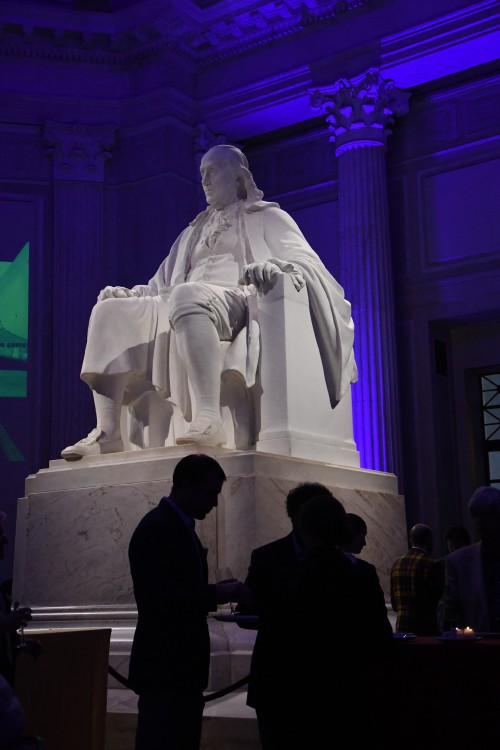 Ben Franklin, Memoirs of our Pioneers reception at the Franklin Institute, Monday evening, May 13, 2019. (VFS photo by Kenneth I. Swartz. CC-BY-SA 4.0)