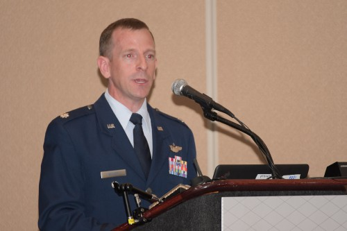 "Lt Col Nathan Diller, DOD, in Forum 75 Special Session 8: ""Challenges in Electric VTOL"" on Thursday, May 16, 2019. (VFS photo by Kenneth I. Swartz. CC-BY-SA 4.0)"