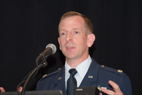"""Lt Col Nathan Diller, DOD, eVTOL Challenges, in Forum 75 Special Session 8: """"Challenges in Electric VTOL"""" on Thursday, May 16, 2019. (VFS photo by Kenneth I. Swartz. CC-BY-SA 4.0)"""
