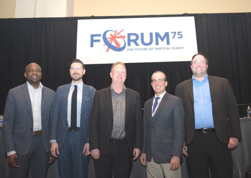 "Panelists, in Forum 75 Special Session 9: ""UAM System Safety Panel"" on Thursday, May 16, 2019. (VFS photo by Kenneth I. Swartz. CC-BY-SA 4.0)"