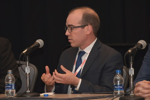 "Patrick Darmstadt, Drive Systems Engineer, Boeing Vertical Lift, Q&A, in Forum 75 Special Session 9: ""UAM System Safety Panel"" on Thursday, May 16, 2019. (VFS photo by Kenneth I. Swartz. CC-BY-SA 4.0)"
