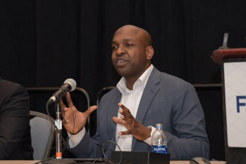 "Ife Ogunleye, Acting Manager, Regulations and Policy (AIR681), in Forum 75 Special Session 9: ""UAM System Safety Panel"" on Thursday, May 16, 2019. (VFS photo by Kenneth I. Swartz. CC-BY-SA 4.0)"