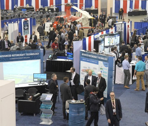 Advanced Rotorcraft Technology exhibit booth at Forum 75 on May 15, 2019. (VFS photo by Kenneth I. Swartz. CC-BY-SA 4.0)
