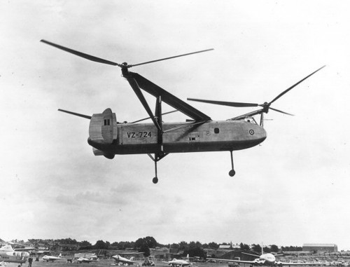 This odd three rotor chopper is seen here at the 1949 Farnborough Air Show.  Developed by the Cierva company (soon to be acquired by Saunders-Roe), this, the largest of helicopters flying at the time, was intended to be used in the agricultural business.   Courtesy of the Ed Coates Collection  For more visit http://www.edcoatescollection.com/ac6/Cierva%20W.11%20Air%20Horse.html