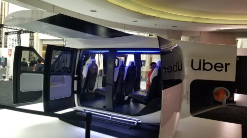 Safran cabin mockup for UberAir vehicles, unveiled at Uber Elevate Summit 2019. Uber held its third annual summit on June 11-12 at the Ronald Reagan Building and International Trade Center in Washington, DC. (VFS staff photo taken June 12, 2019. CC-BY-SA 4.0)