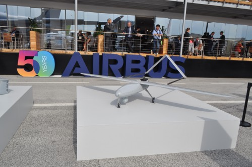 Airbus DVF 2000 drone on static display at the Paris Airshow. (VFS photo taken June 17, 2019 by VFS Staff)
